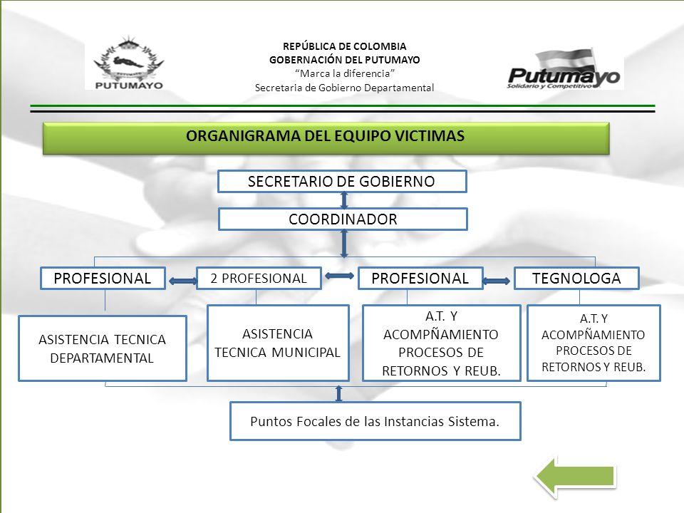 ORGANIGRAMA DEL EQUIPO VICTIMAS