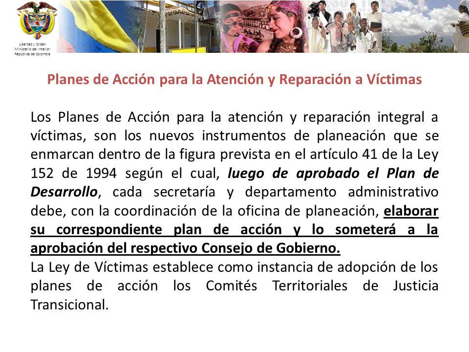 Planes de Acción para la Atención y Reparación a Víctimas