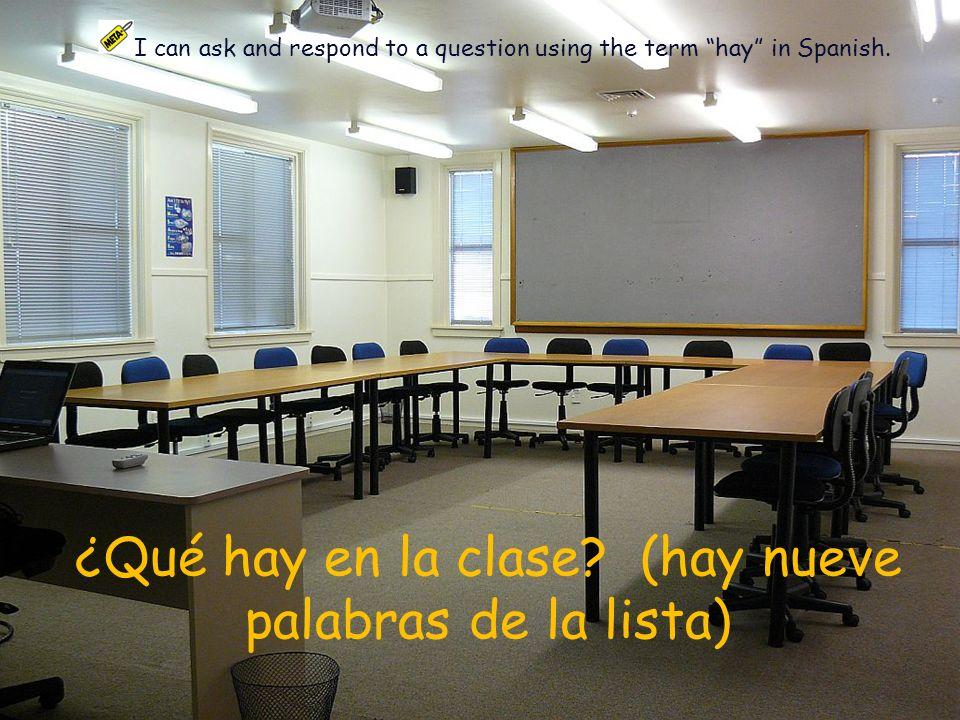 ¿Qué hay en la clase (hay nueve palabras de la lista)