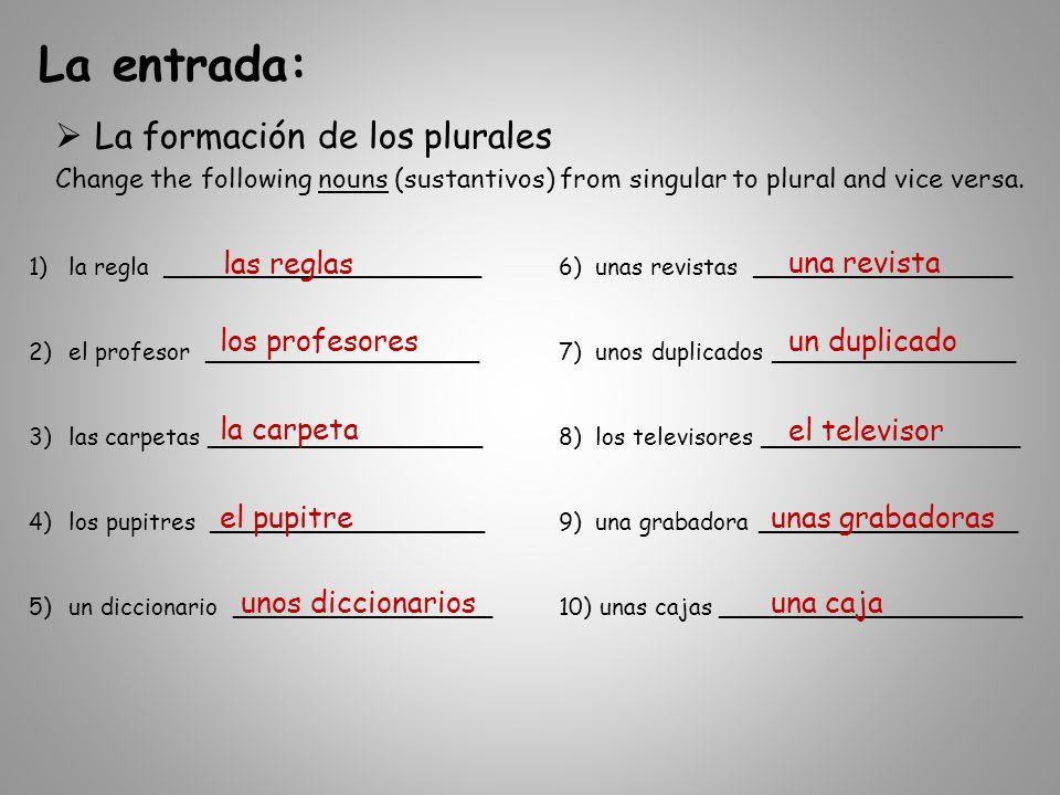 La formación de los plurales