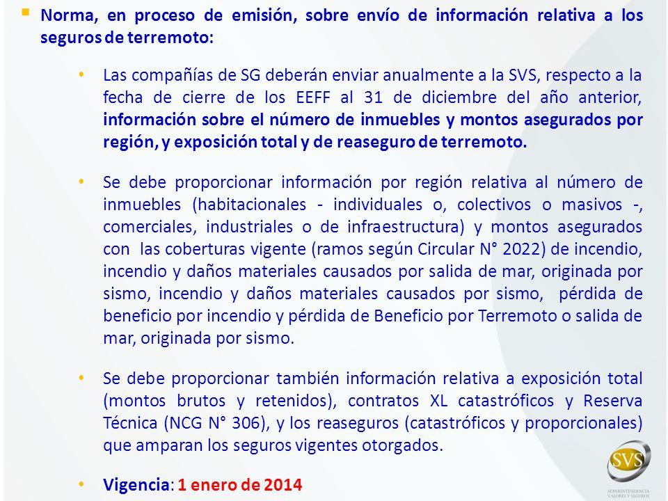 Norma, en proceso de emisión, sobre envío de información relativa a los seguros de terremoto: