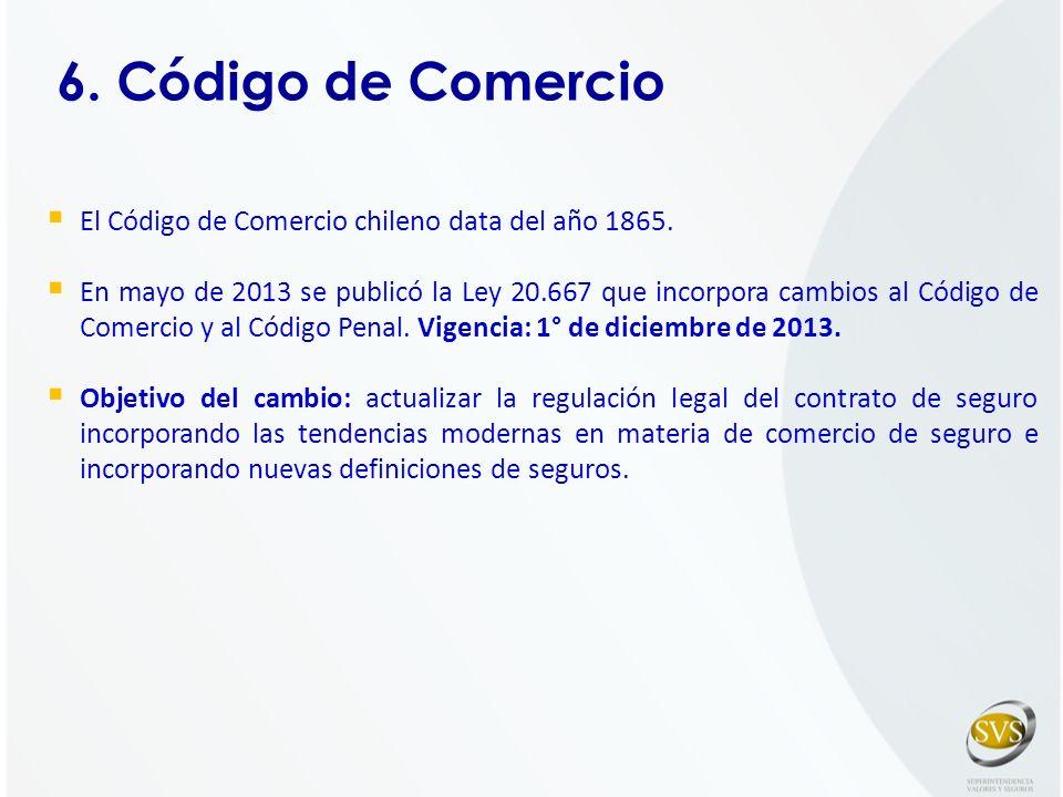 6. Código de Comercio El Código de Comercio chileno data del año 1865.