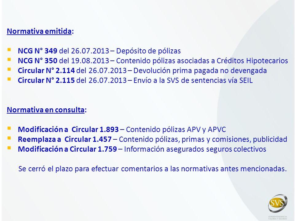 Normativa emitida: NCG N° 349 del 26.07.2013 – Depósito de pólizas. NCG N° 350 del 19.08.2013 – Contenido pólizas asociadas a Créditos Hipotecarios.