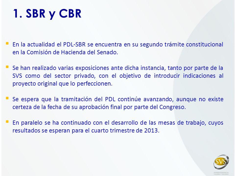 1. SBR y CBR En la actualidad el PDL-SBR se encuentra en su segundo trámite constitucional en la Comisión de Hacienda del Senado.