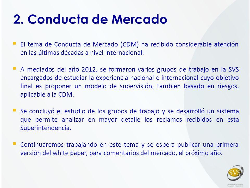 2. Conducta de Mercado El tema de Conducta de Mercado (CDM) ha recibido considerable atención en las últimas décadas a nivel internacional.