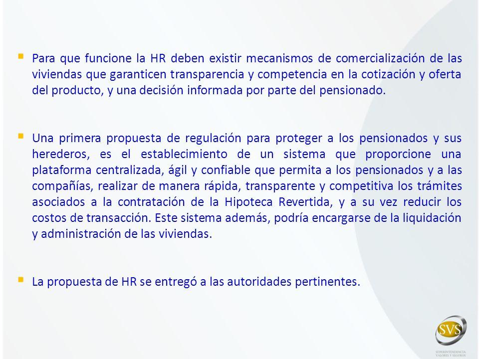 Para que funcione la HR deben existir mecanismos de comercialización de las viviendas que garanticen transparencia y competencia en la cotización y oferta del producto, y una decisión informada por parte del pensionado.