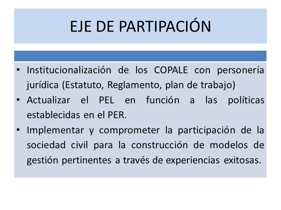 EJE DE PARTIPACIÓN Institucionalización de los COPALE con personería jurídica (Estatuto, Reglamento, plan de trabajo)