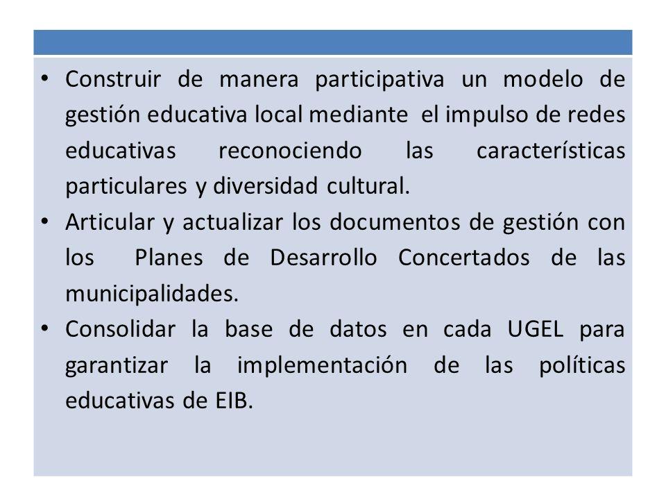 Construir de manera participativa un modelo de gestión educativa local mediante el impulso de redes educativas reconociendo las características particulares y diversidad cultural.