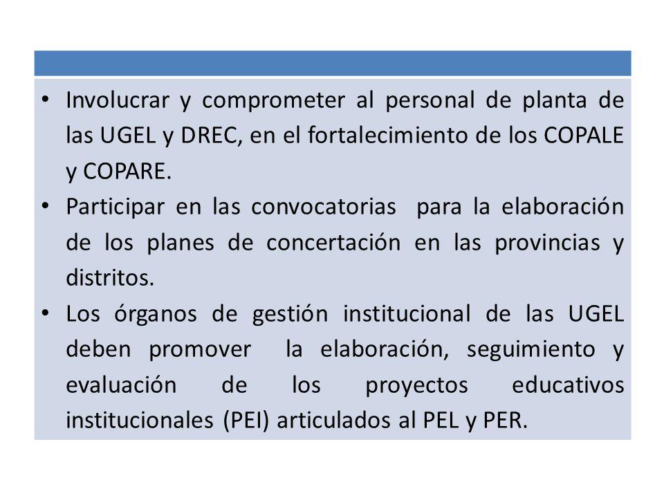 Involucrar y comprometer al personal de planta de las UGEL y DREC, en el fortalecimiento de los COPALE y COPARE.