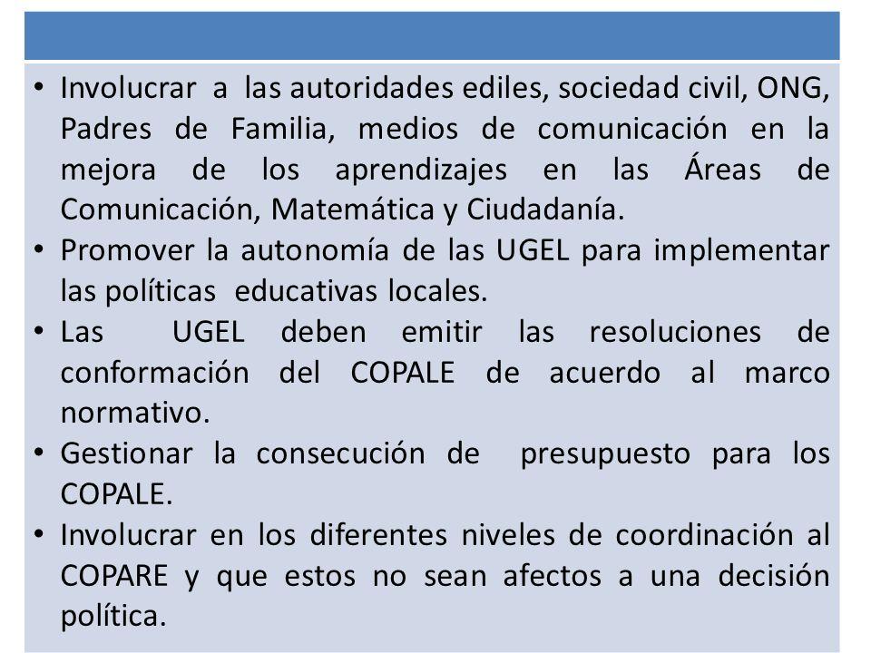 Involucrar a las autoridades ediles, sociedad civil, ONG, Padres de Familia, medios de comunicación en la mejora de los aprendizajes en las Áreas de Comunicación, Matemática y Ciudadanía.