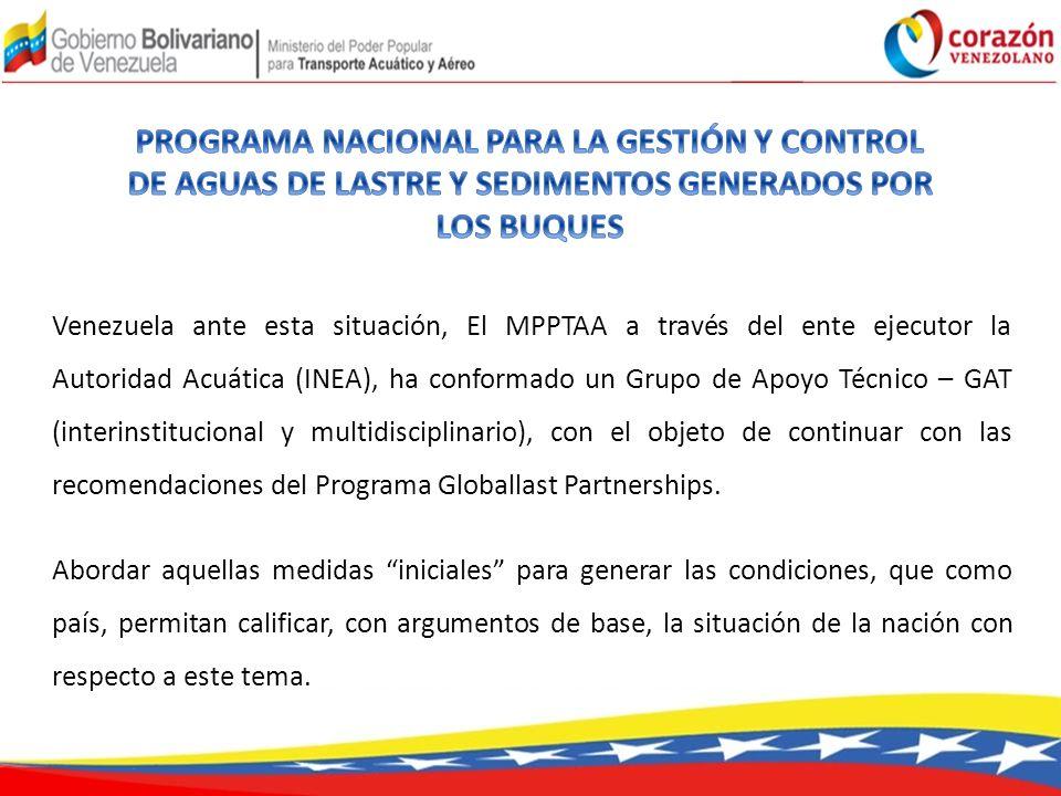 PROGRAMA NACIONAL PARA LA GESTIÓN Y CONTROL DE AGUAS DE LASTRE Y SEDIMENTOS GENERADOS POR LOS BUQUES