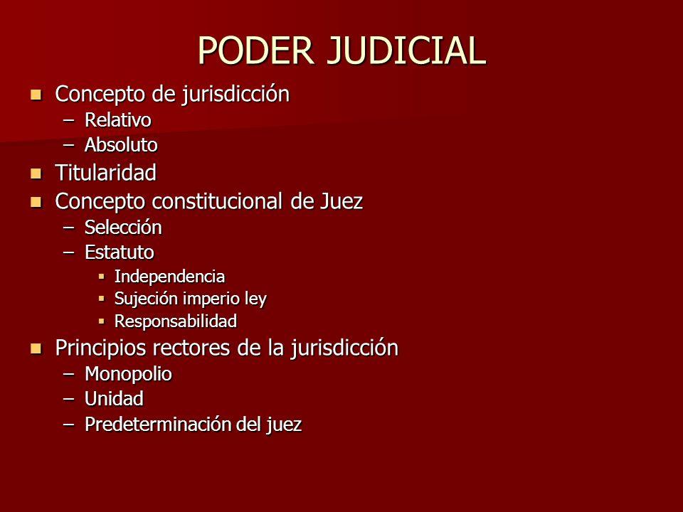 PODER JUDICIAL Concepto de jurisdicción Titularidad