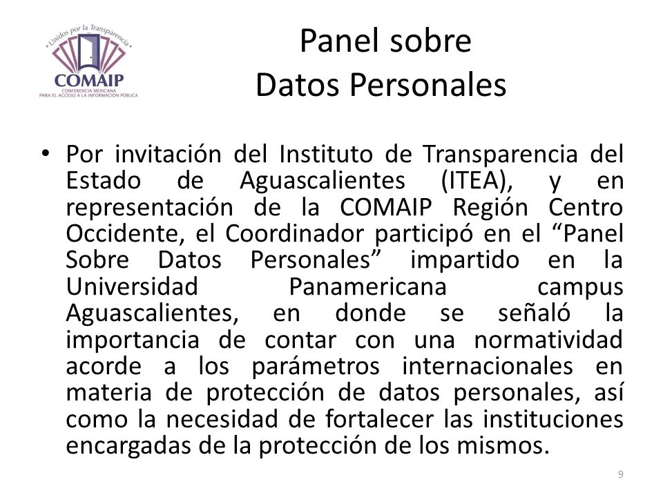 Panel sobre Datos Personales
