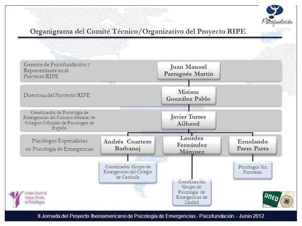 Organigrama del Comité Técnico/Organizativo del Proyecto RIPE