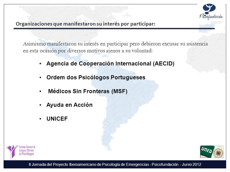 Organizaciones que manifestaron su interés por participar: