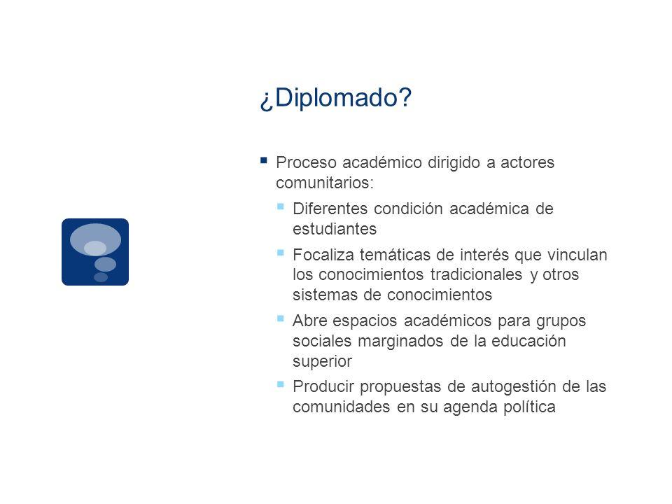 ¿Diplomado Proceso académico dirigido a actores comunitarios: