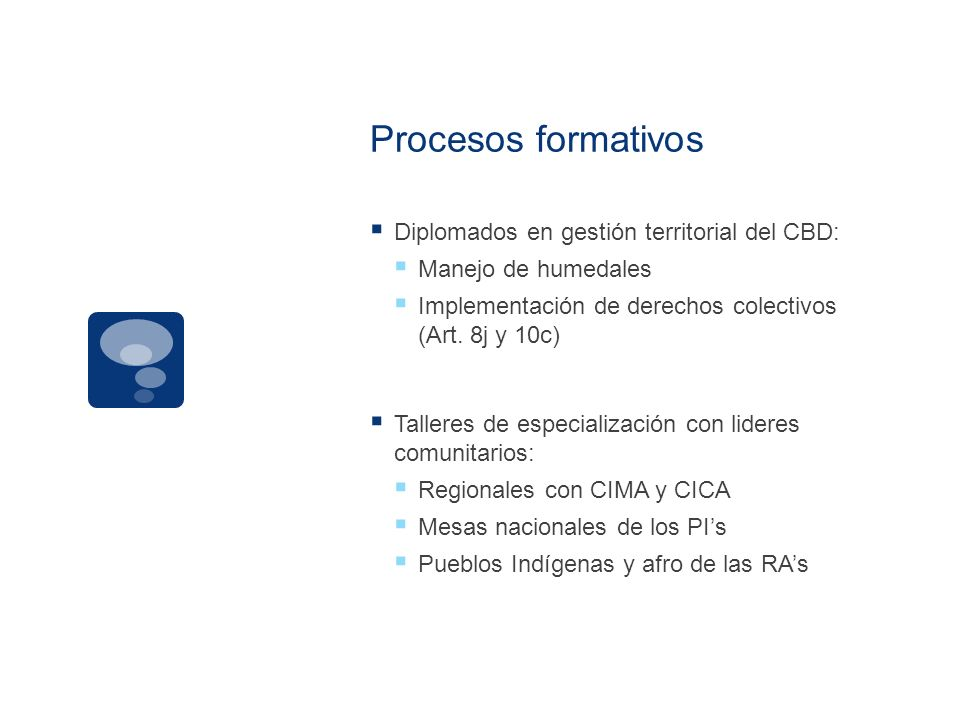 Procesos formativos Diplomados en gestión territorial del CBD: