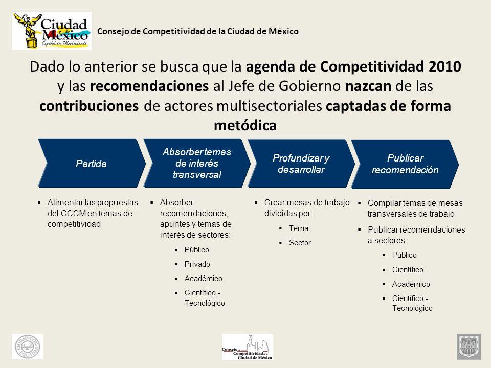 Dado lo anterior se busca que la agenda de Competitividad 2010 y las recomendaciones al Jefe de Gobierno nazcan de las contribuciones de actores multisectoriales captadas de forma metódica