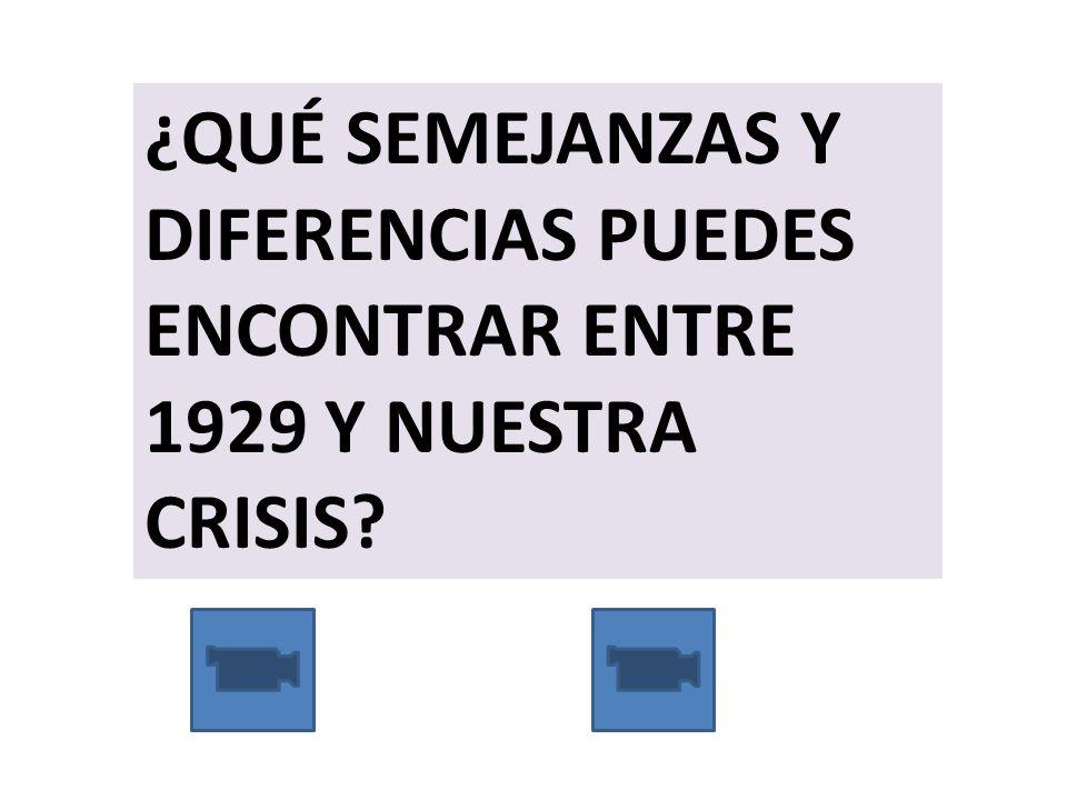 ¿QUÉ SEMEJANZAS Y DIFERENCIAS PUEDES ENCONTRAR ENTRE 1929 Y NUESTRA CRISIS