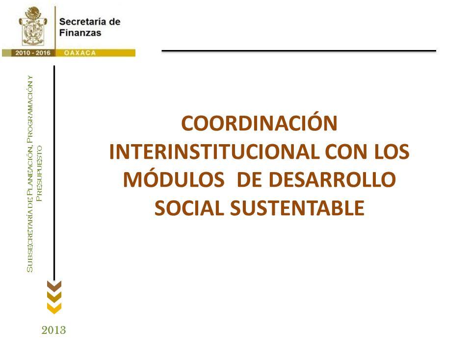 COORDINACIÓN INTERINSTITUCIONAL CON LOS MÓDULOS DE DESARROLLO SOCIAL SUSTENTABLE