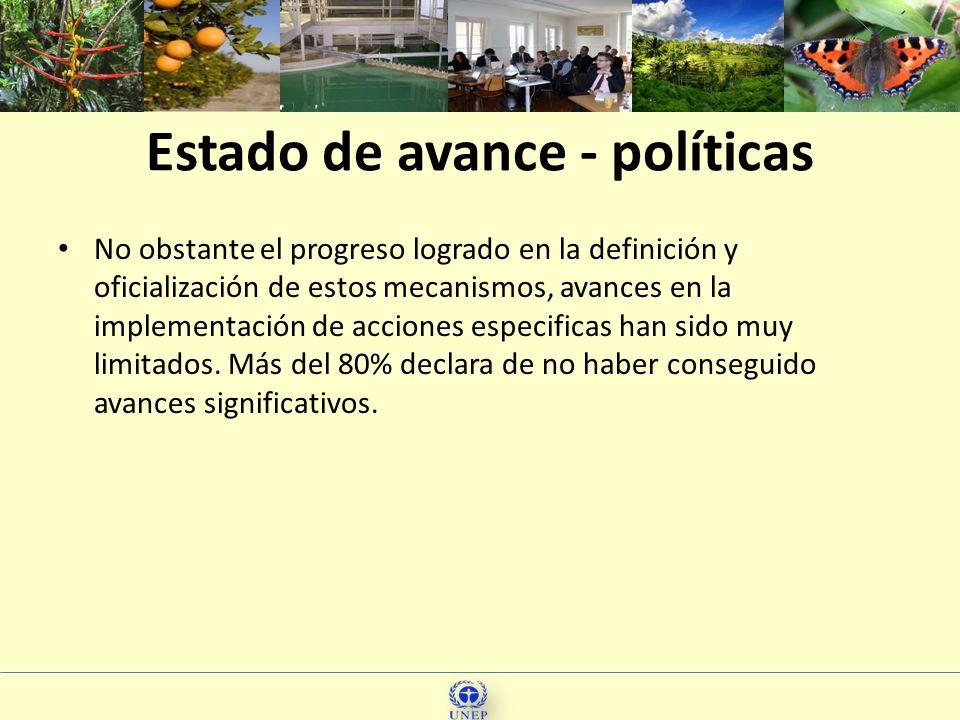 Estado de avance - políticas