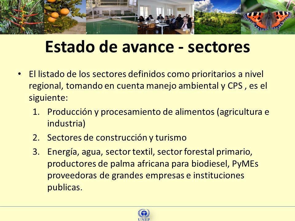 Estado de avance - sectores