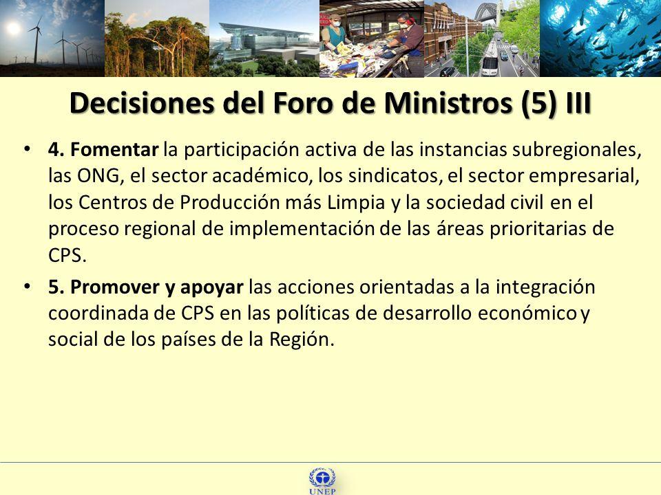Decisiones del Foro de Ministros (5) III