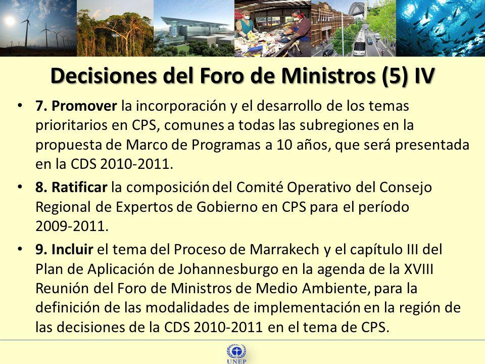 Decisiones del Foro de Ministros (5) IV