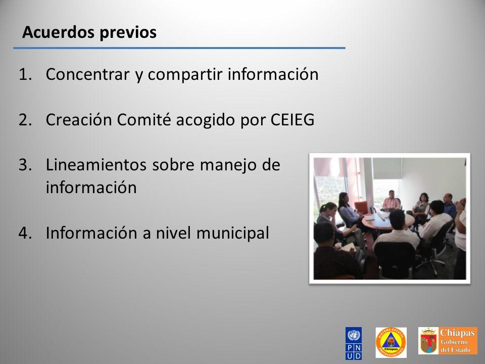 Acuerdos previos Concentrar y compartir información. Creación Comité acogido por CEIEG. Lineamientos sobre manejo de información.