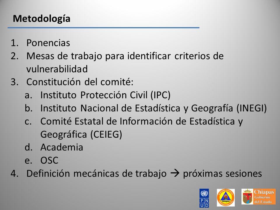 Metodología Ponencias. Mesas de trabajo para identificar criterios de vulnerabilidad. Constitución del comité: