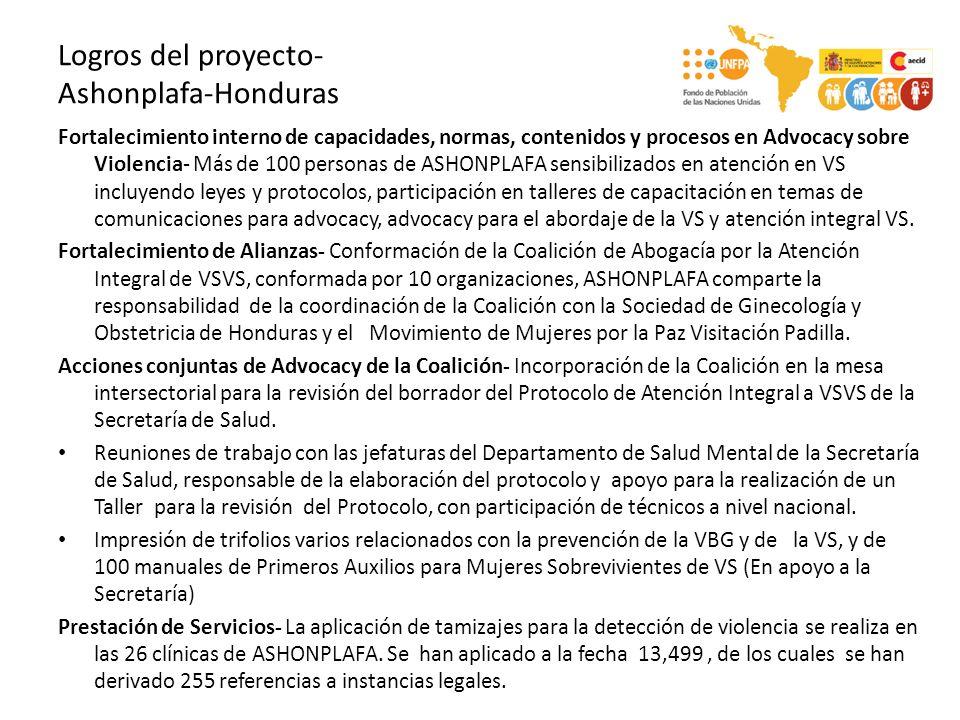 Logros del proyecto- Ashonplafa-Honduras