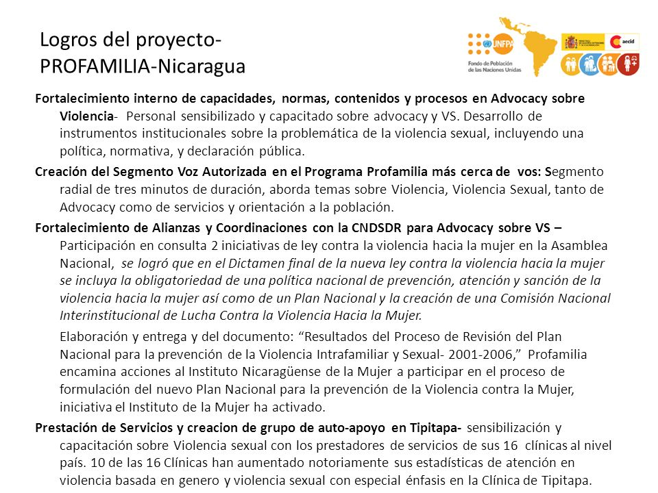 Logros del proyecto- PROFAMILIA-Nicaragua