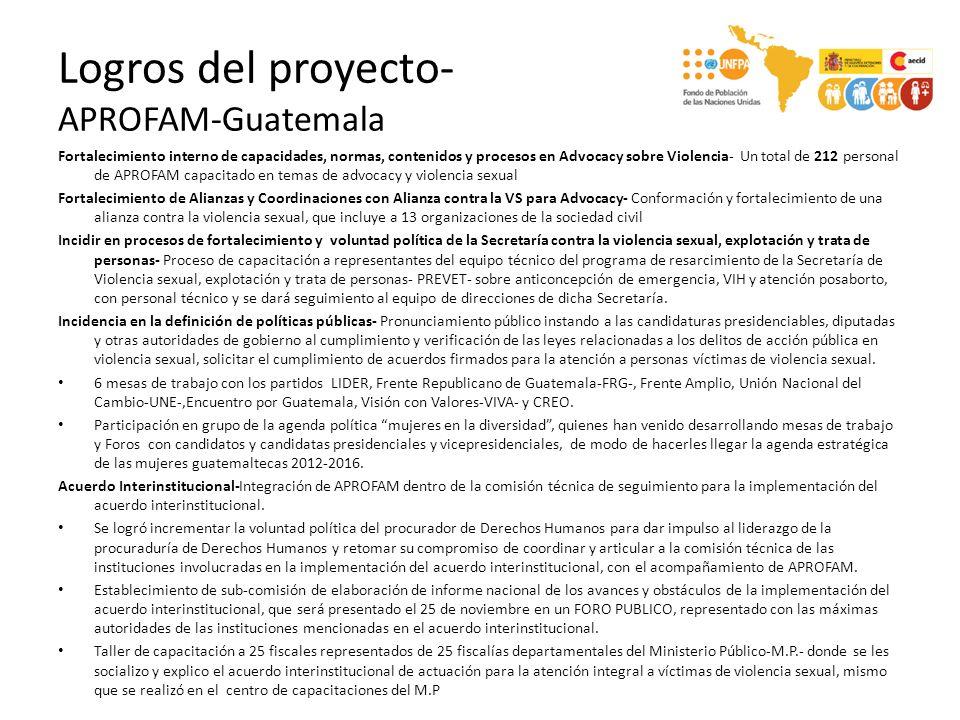 Logros del proyecto- APROFAM-Guatemala