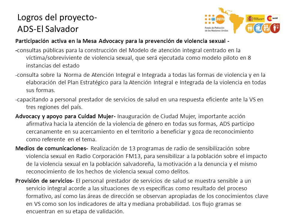 Logros del proyecto- ADS-El Salvador