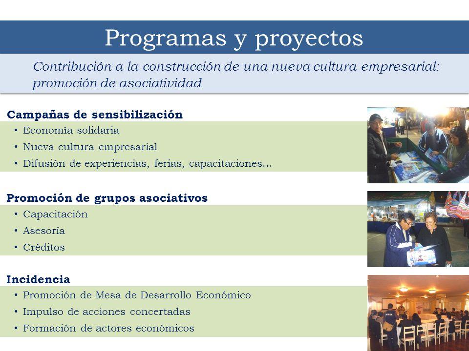 Programas y proyectos Contribución a la construcción de una nueva cultura empresarial: promoción de asociatividad.