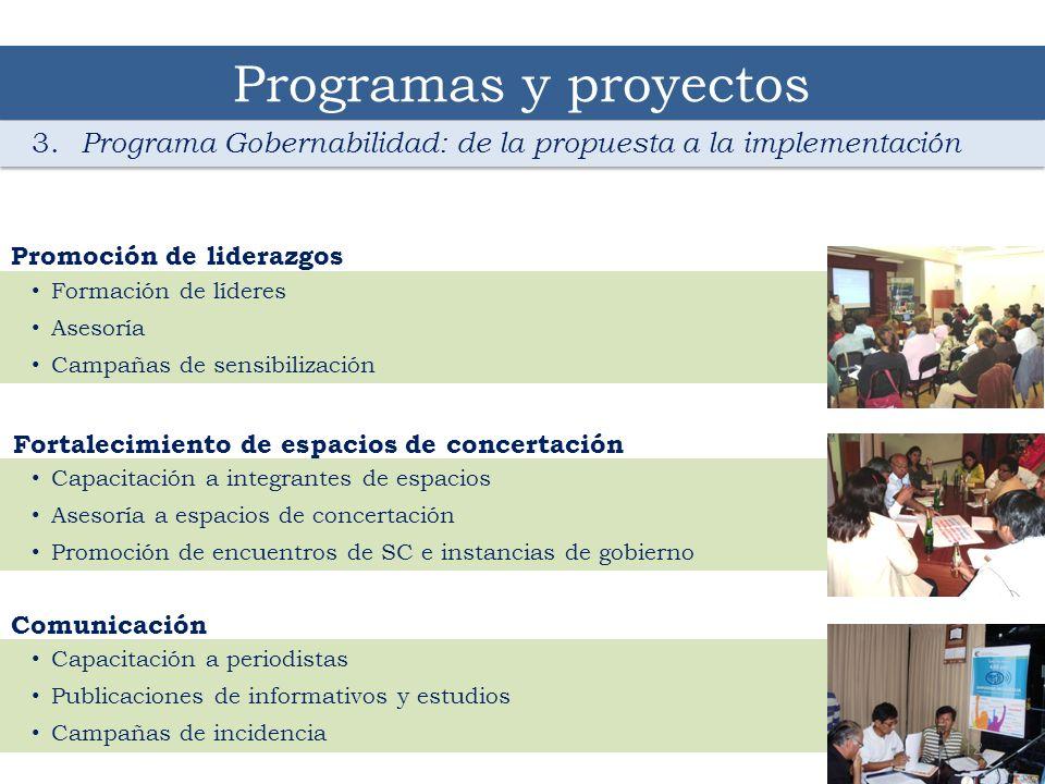 Programas y proyectos 3. Programa Gobernabilidad: de la propuesta a la implementación. Formación de líderes.