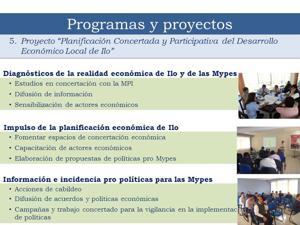 Programas y proyectos 5. Proyecto Planificación Concertada y Participativa del Desarrollo Económico Local de Ilo
