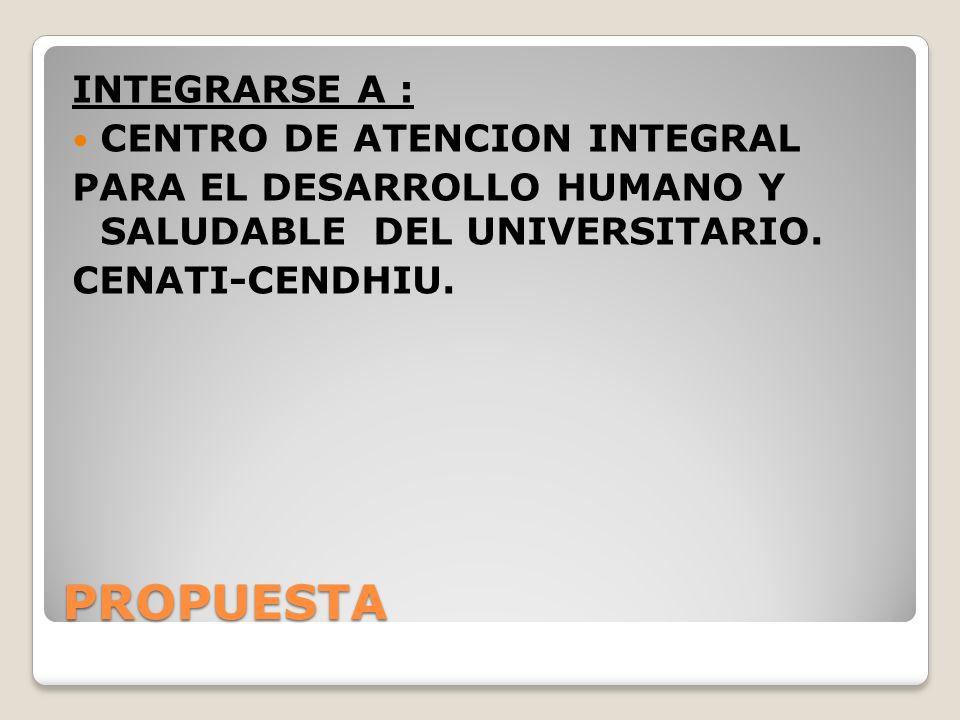 PROPUESTA INTEGRARSE A : CENTRO DE ATENCION INTEGRAL