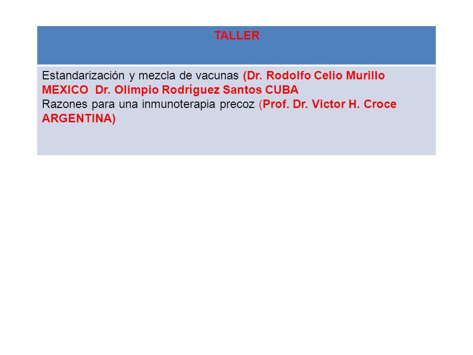 TALLER Estandarización y mezcla de vacunas (Dr. Rodolfo Celio Murillo MEXICO Dr. Olimpio Rodríguez Santos CUBA.
