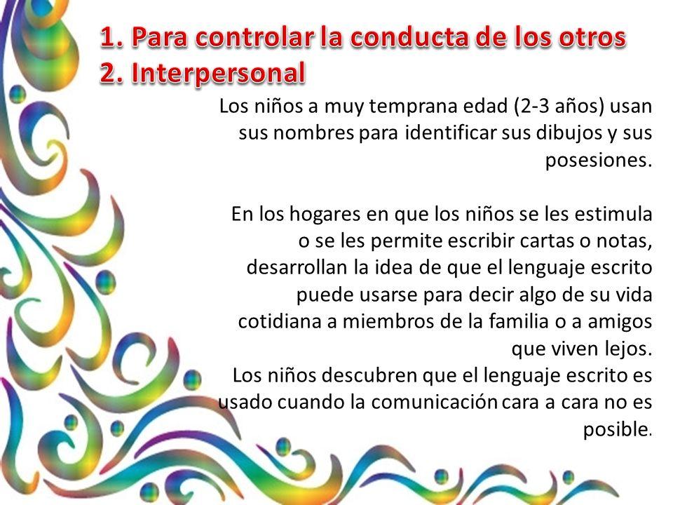 1. Para controlar la conducta de los otros 2. Interpersonal