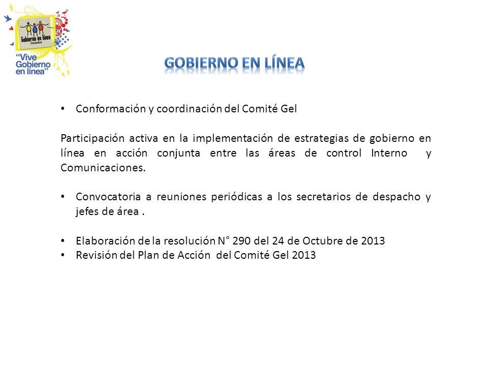 GOBIERNO EN LÍNEA Conformación y coordinación del Comité Gel
