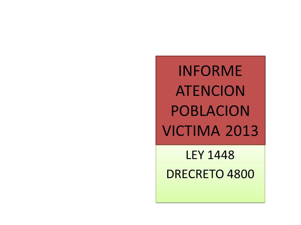 INFORME ATENCION POBLACION VICTIMA 2013