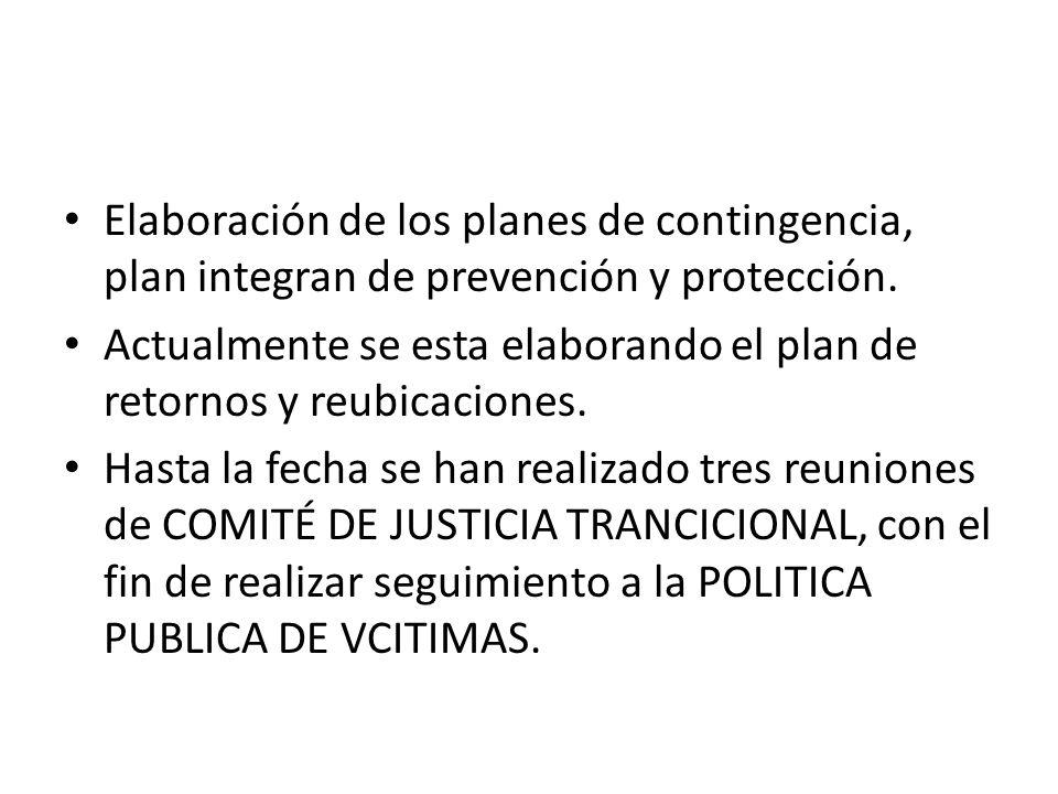 Elaboración de los planes de contingencia, plan integran de prevención y protección.