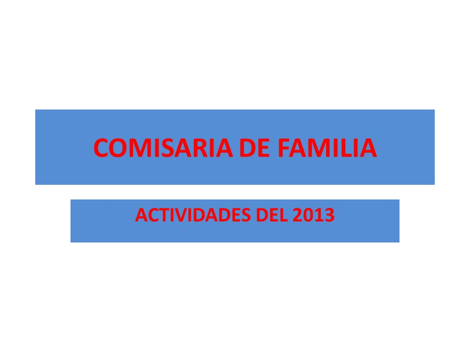 COMISARIA DE FAMILIA ACTIVIDADES DEL 2013