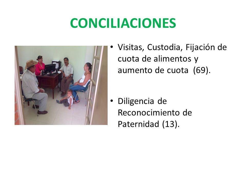 CONCILIACIONES Visitas, Custodia, Fijación de cuota de alimentos y aumento de cuota (69).