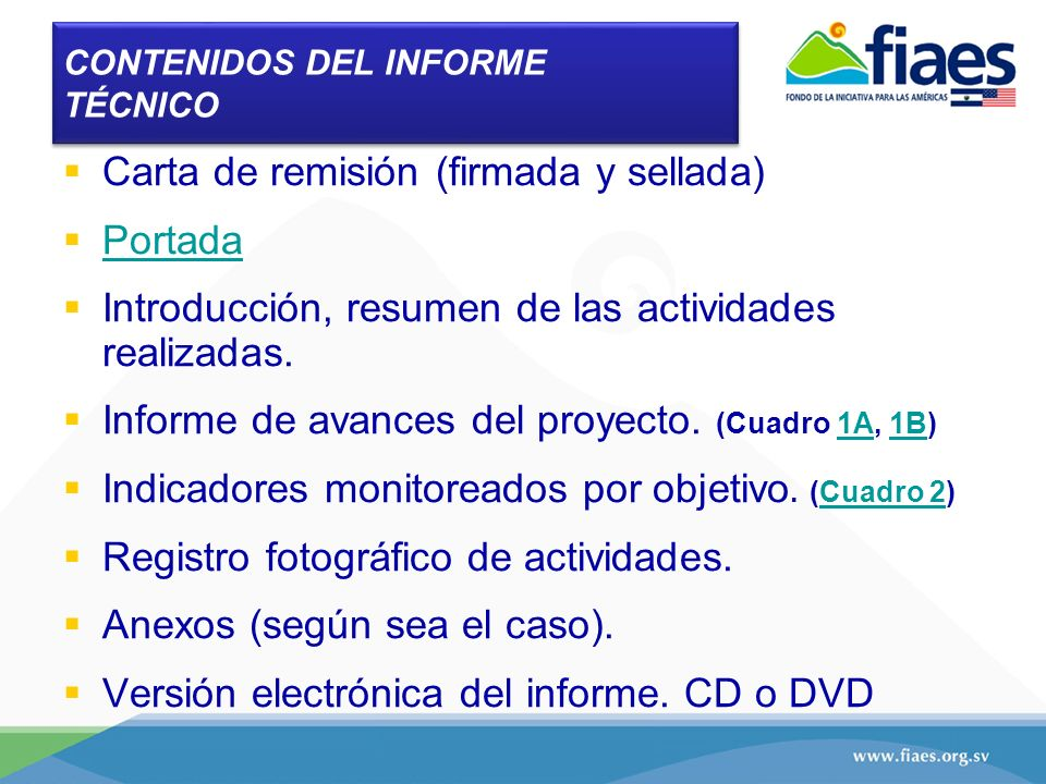 CONTENIDOS DEL INFORME TÉCNICO