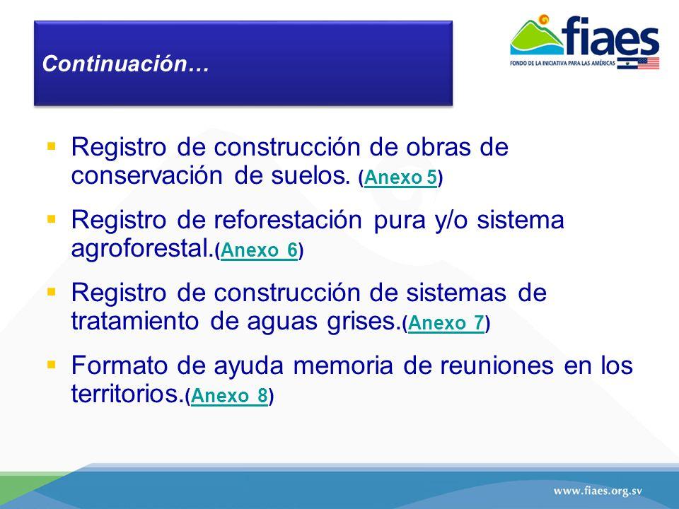 Registro de construcción de obras de conservación de suelos. (Anexo 5)