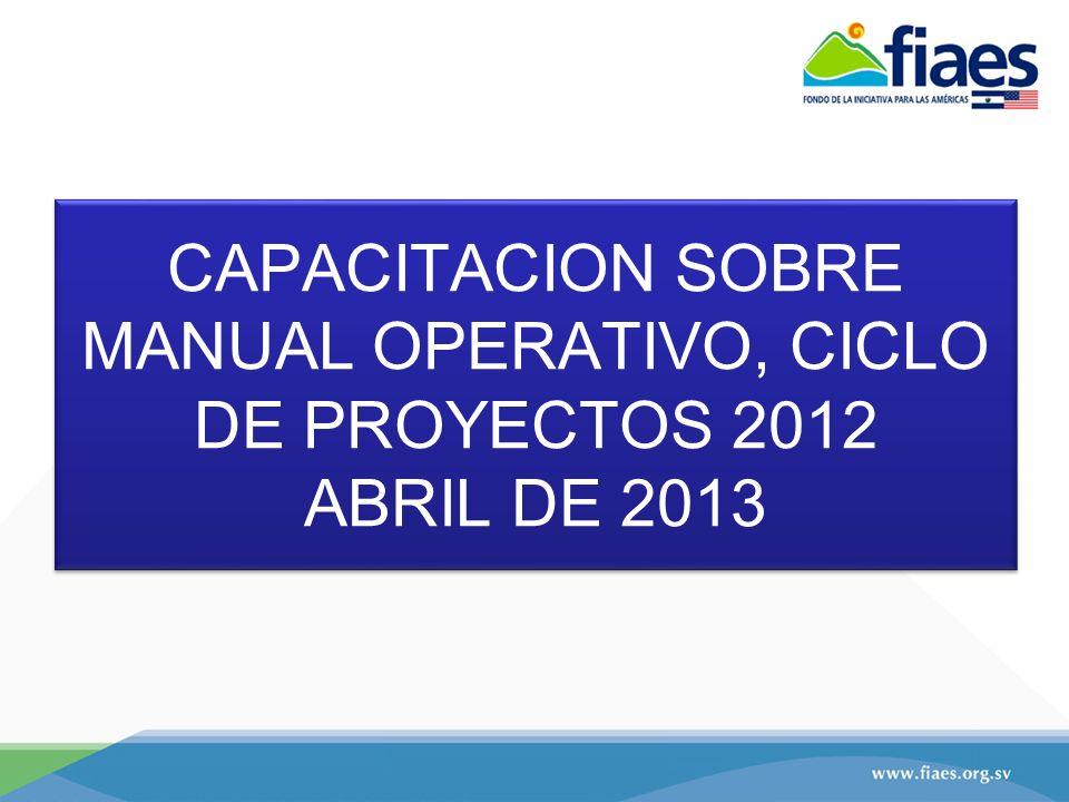 CAPACITACION SOBRE MANUAL OPERATIVO, CICLO DE PROYECTOS 2012 ABRIL DE 2013