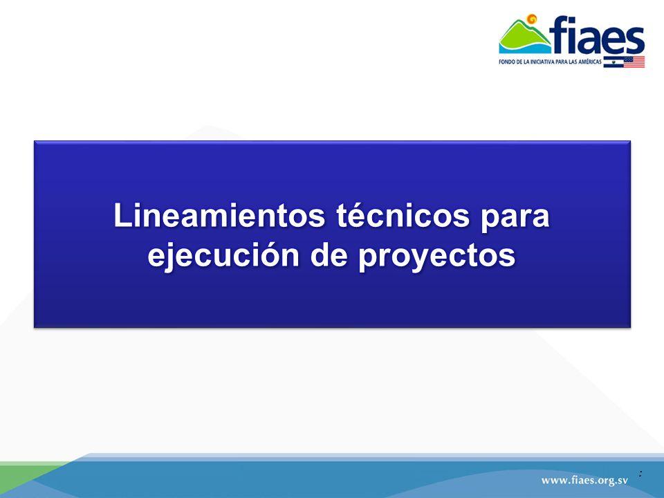 Lineamientos técnicos para ejecución de proyectos