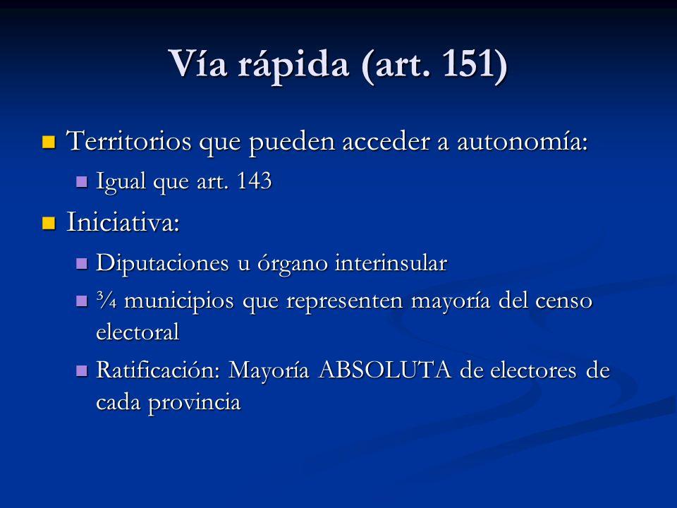 Vía rápida (art. 151) Territorios que pueden acceder a autonomía: